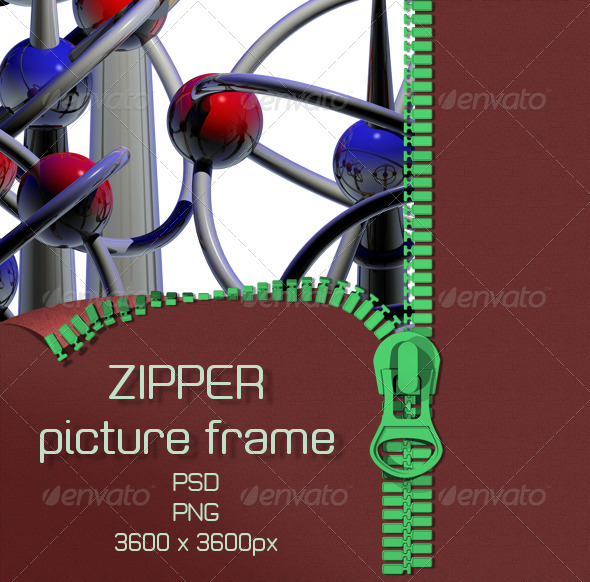 Zipper Pattern and Picture Frame - Photo Templates Graphics