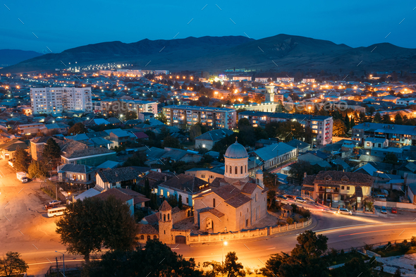 Gori, Shida Kartli Region, Georgia. Gori Cityscape In Evening Il - Stock Photo - Images