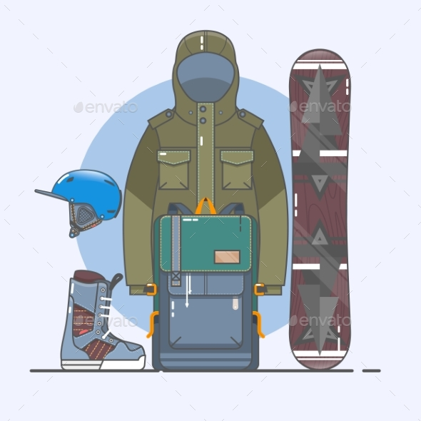 Snowboard accessories.Winter Sports Icon Set. Line - Sports/Activity Conceptual
