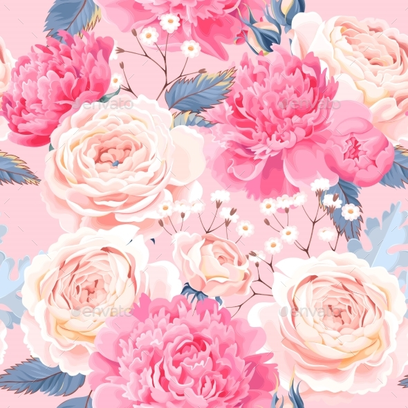 Seamless Pattern with Peonies and Roses - Flowers & Plants Nature