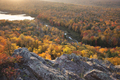 Lake in Michigan with Trees in Fall Color Viewed from Above