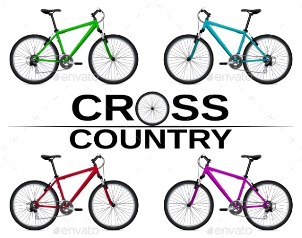 Cross-country Bikes in Different Colors. - Objects Vectors