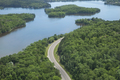 Aerial View of a Curving Road Alongside the Mississippi River in Northern Minnesota