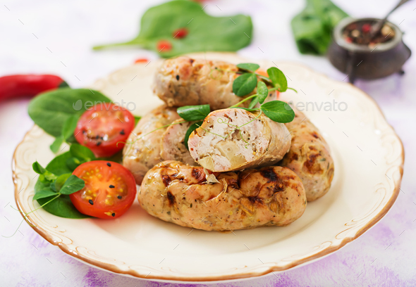 Dietary sausages from turkey fillet and mushrooms.