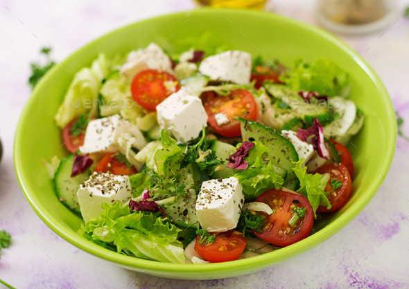 Salad of fresh vegetables in Greek style. Dietary menu. Proper nutrition.