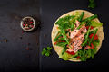 Healthy mexican corn tacos with baked salmon, lettuce, tomato, cucumber and arugula. - PhotoDune Item for Sale