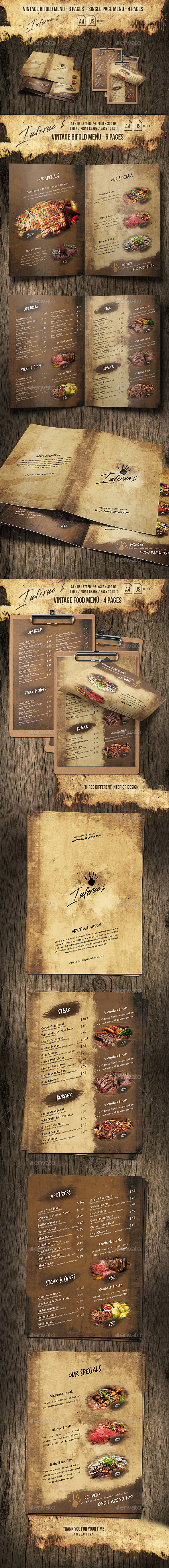 Infernos Vintage Menu - A4 and US Letter - 2 Designs - 10 Pages - Food Menus Print Templates