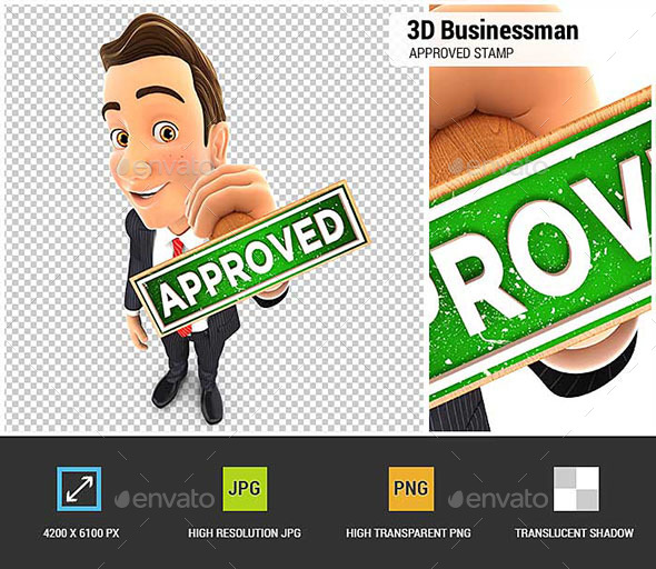 3D Businessman Approved Stamp - Characters 3D Renders