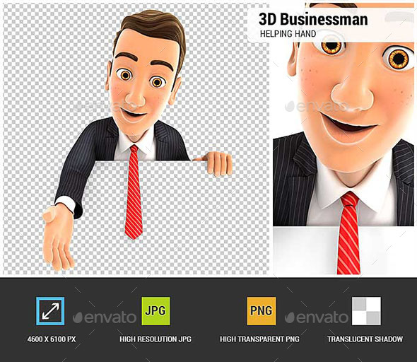3D Businessman Helping Hand - Characters 3D Renders
