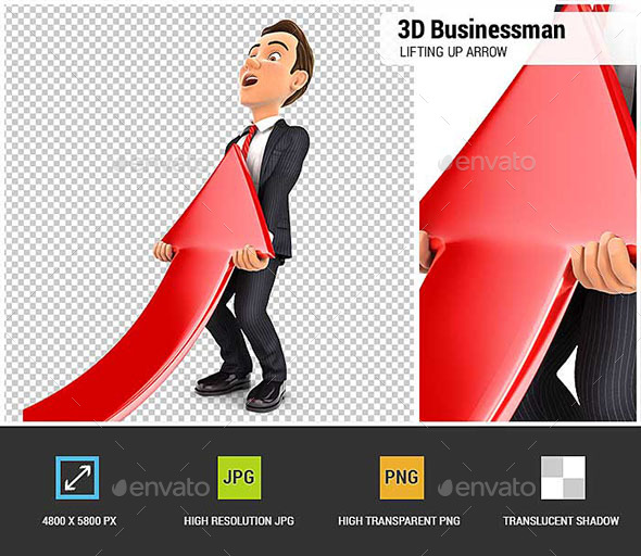 GraphicRiver 3D Businessman Lifting Up Red Arrow 20507847