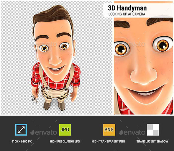 3D Handyman Standing and Looking Up at Camera - Characters 3D Renders