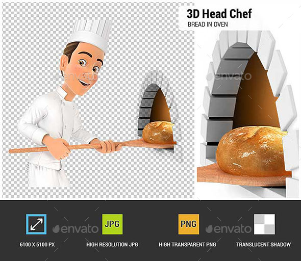 3D Head Chef Putting Bread in Oven - Characters 3D Renders