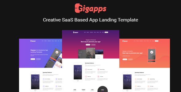 GigApps - Creative SaaS Based App Landing Template - Apps Technology
