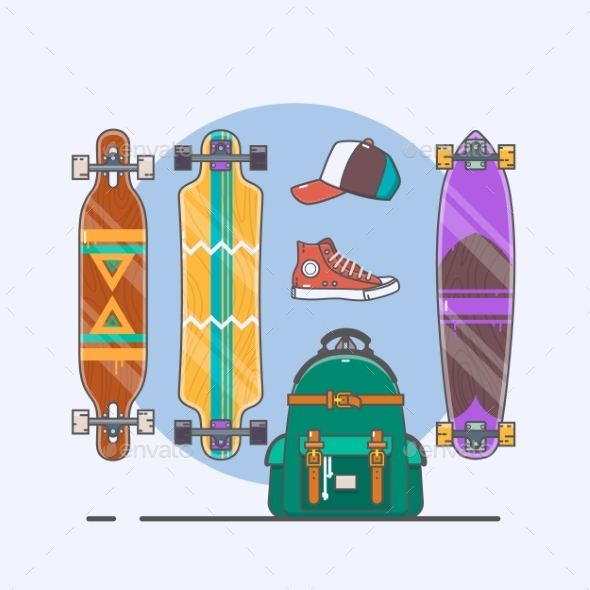 Set of Longboards and Skateboards of Various - Sports/Activity Conceptual