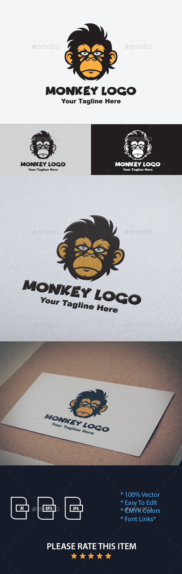 Monkey Logo Design Template - Animals Logo Templates