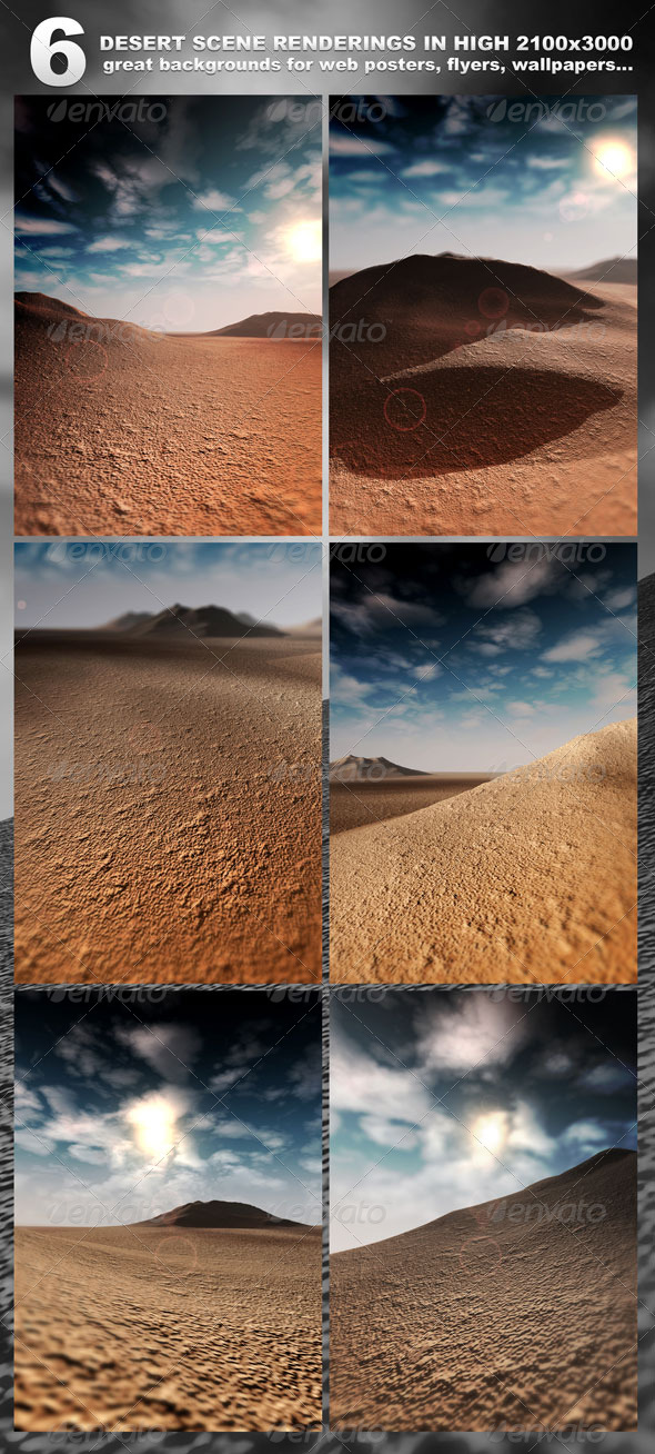 6 Desert Scenes in 2100x3000 - rendered - 3D Backgrounds