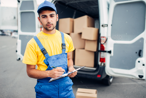 Cargo delivery, courier and truck with boxes - Stock Photo - Images