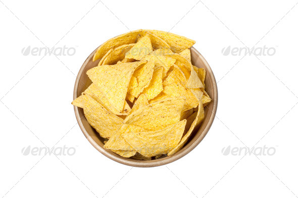 tortilla chips in bowl - Stock Photo - Images