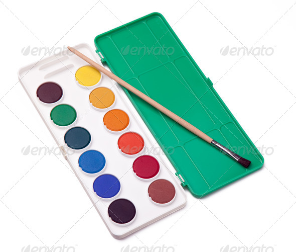 water-colors and paintbrush - Stock Photo - Images