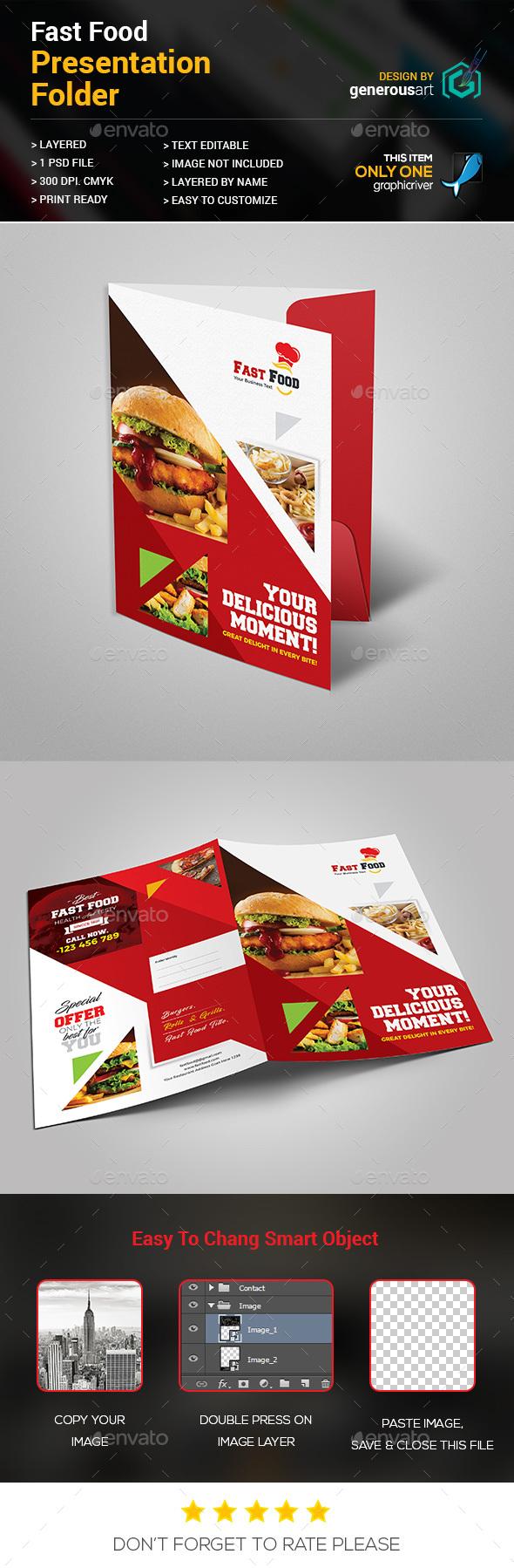 Fast Food Presentation Folder - Stationery Print Templates