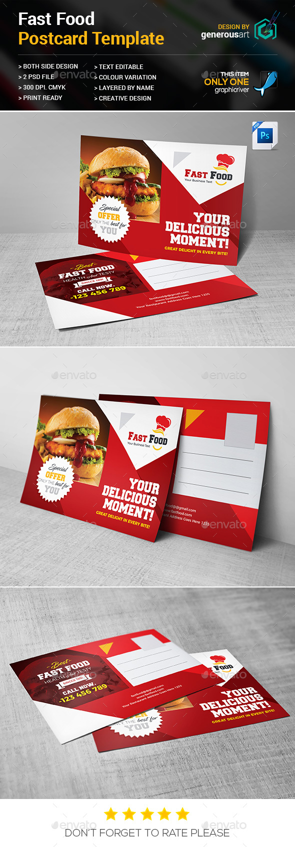 GraphicRiver Fast Food Postcard 20508921