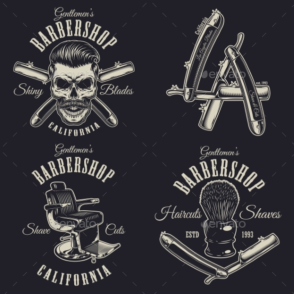 Set of Vintage Barbershop Emblems - Miscellaneous Vectors