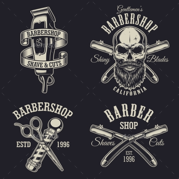 GraphicRiver Set of Vintage Barbershop Emblems 20509034