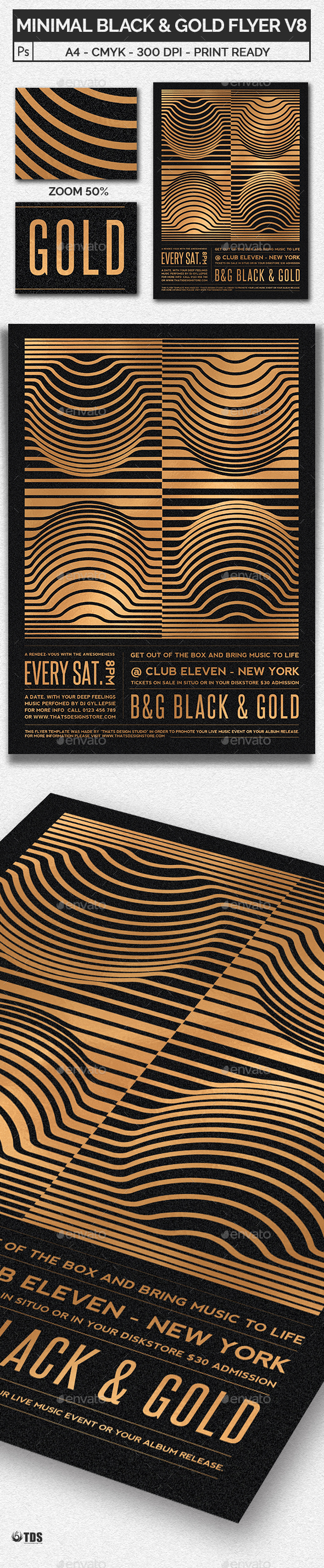 GraphicRiver Minimal Black and Gold Flyer Template V8 20509036