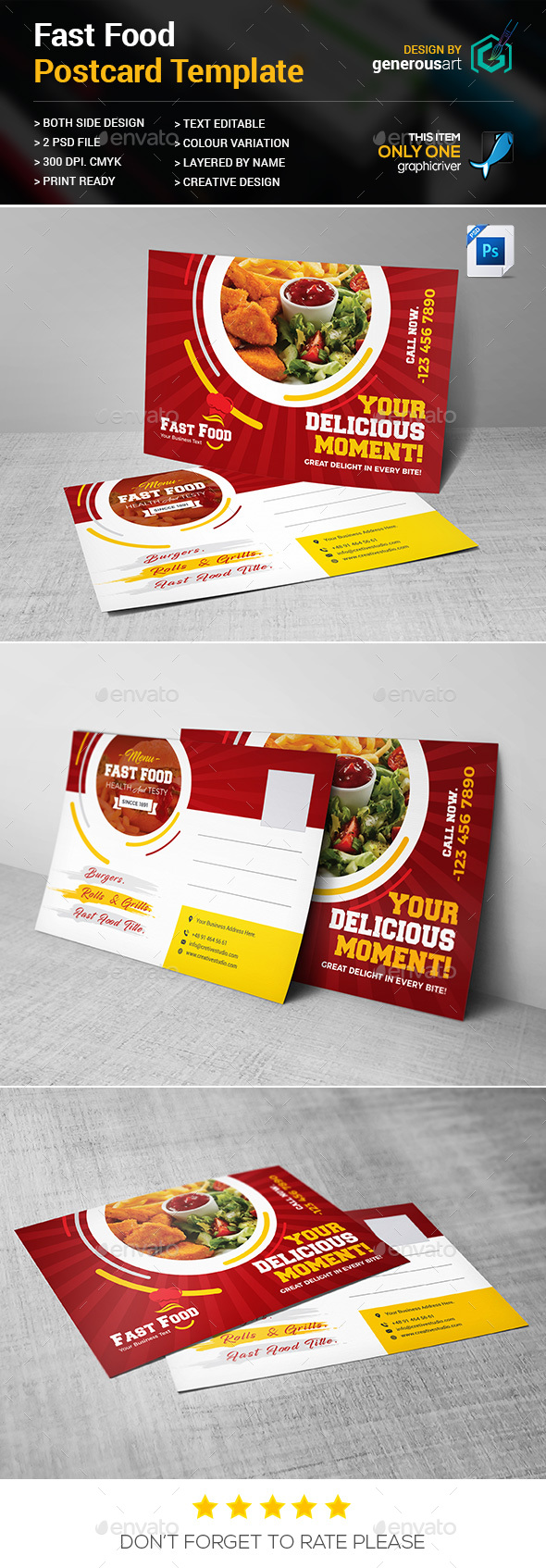 Fast Food Postcard - Cards & Invites Print Templates