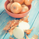 Vintage photo, Peeled and unpeeled fresh onions on boards, healthy nutrition - PhotoDune Item for Sale