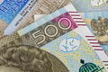 Closeup of 500 pln banknotes