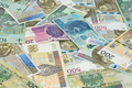 Background made of different polish zloty banknotes