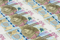 Banknotes of 500 pln laying in a row
