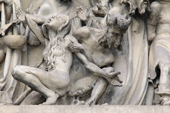 Fall into Hell - detail of the sculpture of the Last Judgment