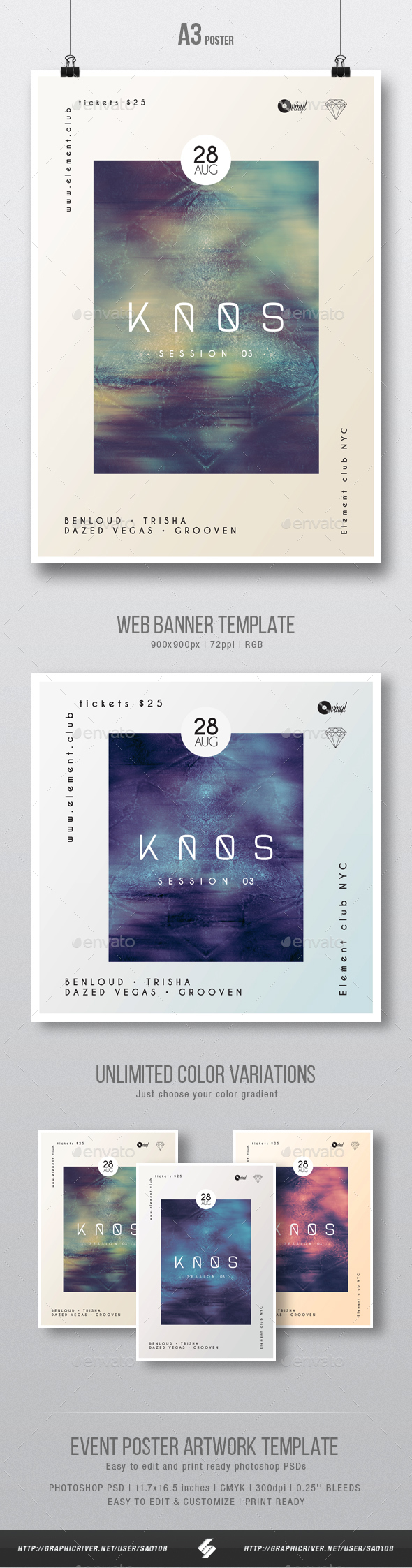GraphicRiver Kaos 03 Minimal Party Flyer Poster Artwork Template A3 20509226