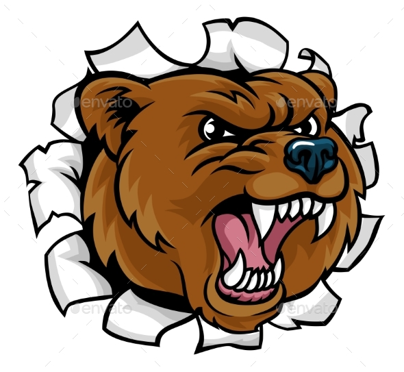 Bear Angry Mascot Background Breakthrough - Animals Characters