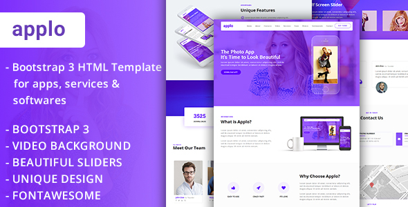 APPLO - Video Background Bootstrap 3 One Page HTML Template For Apps Services Softwares - Software Technology