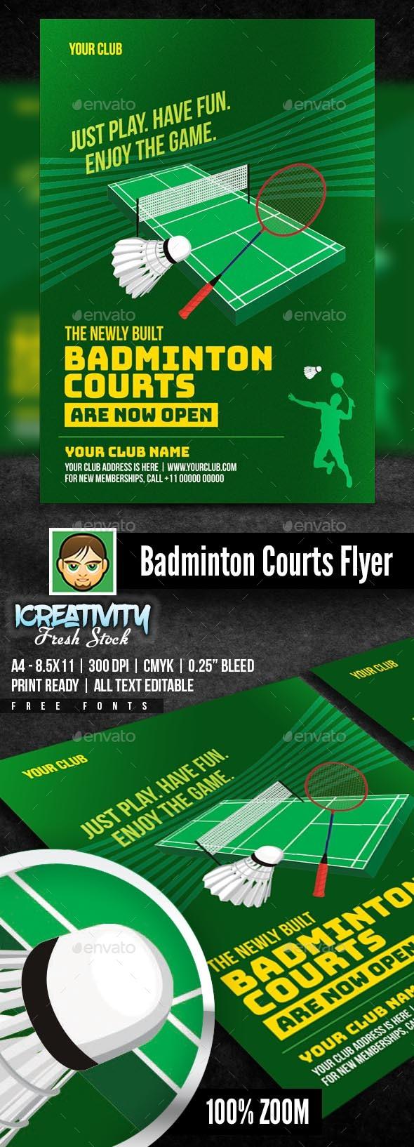 Badminton Courts Flyer - Flyers Print Templates
