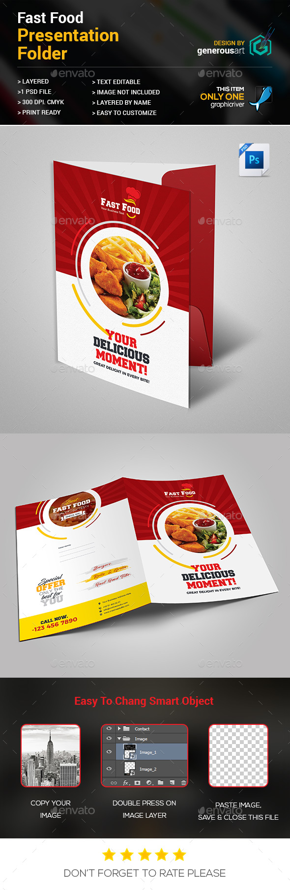 Fast Food Presentation Folder - Stationery Print Templates