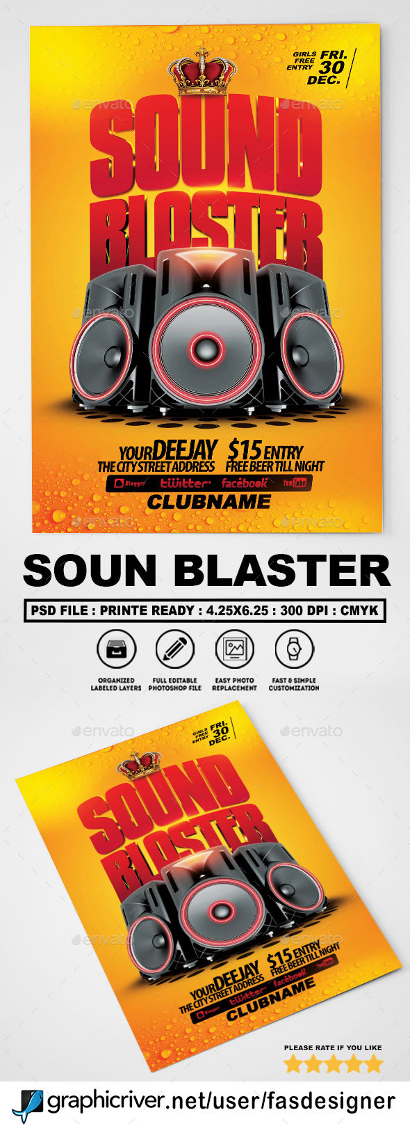Sound Blaster Flyer - Clubs & Parties Events
