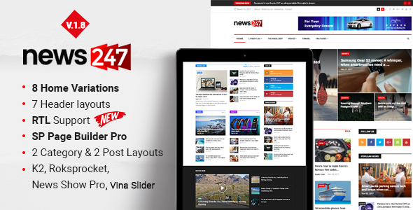 News247 - Responsive News Magazine Newspaper - Blog / Magazine Joomla
