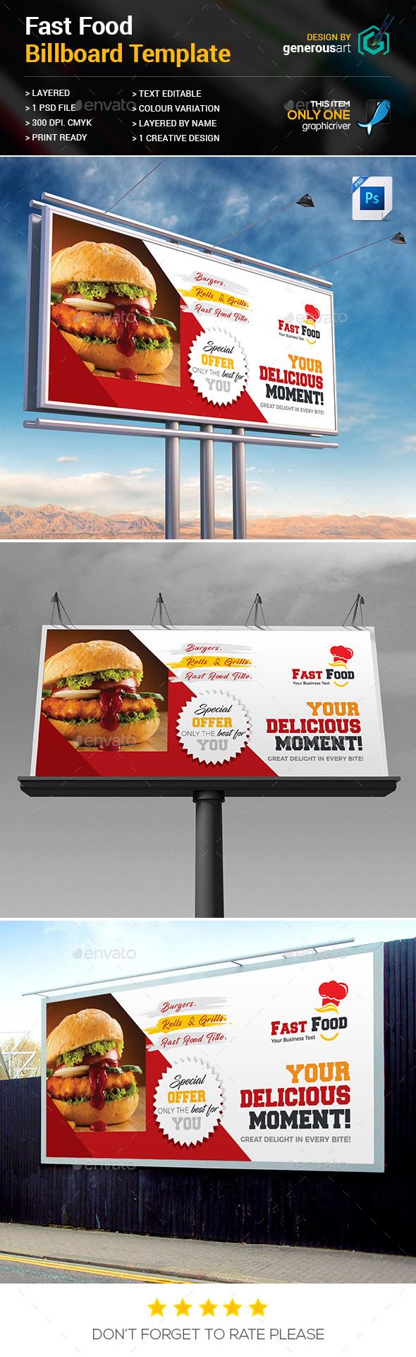 Fast Food Billboard Template - Signage Print Templates