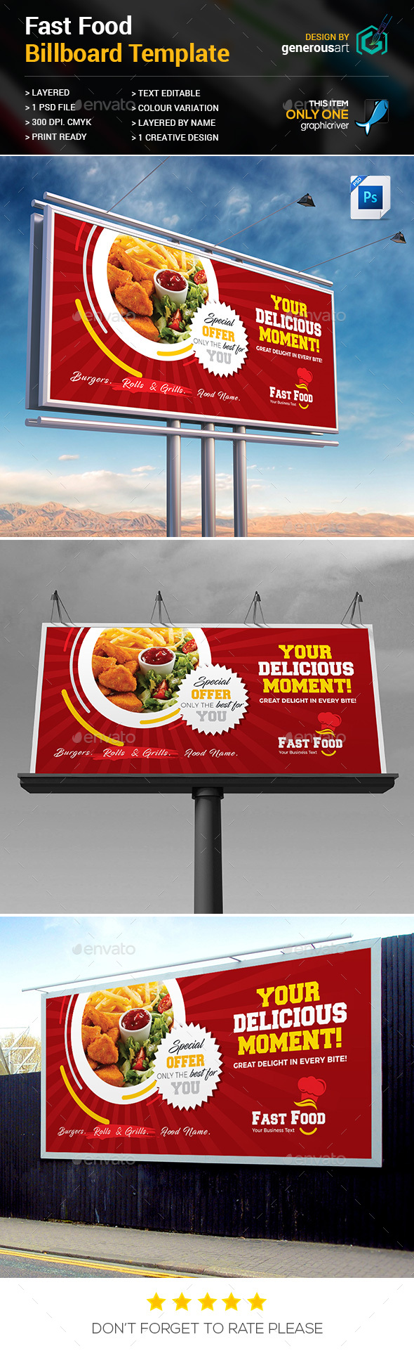 GraphicRiver Fast Food Billboard Template 20509853