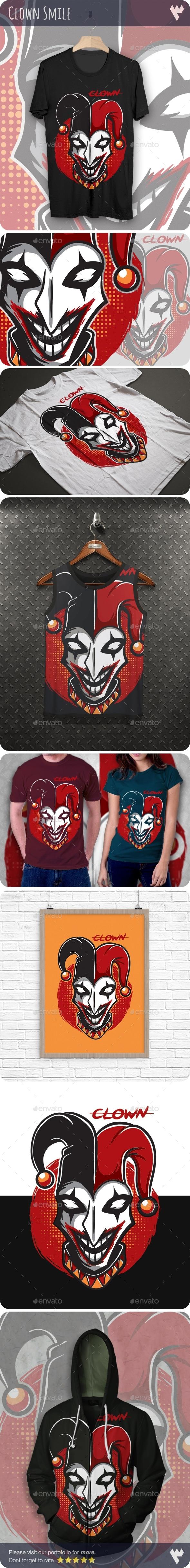 Clown Smile T-Shirt Design - Grunge Designs