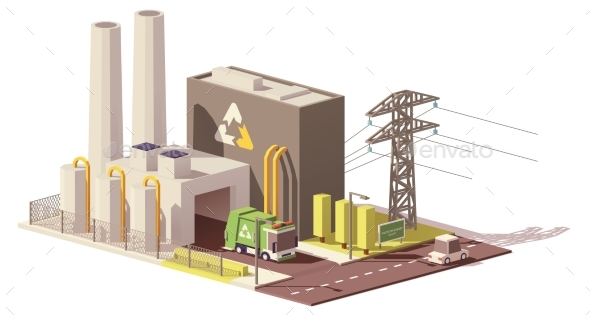 GraphicRiver Vector Low Poly Waste-to-energy Plant 20509902