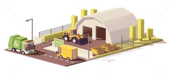 Vector Low Poly Waste Transfer Station - Buildings Objects