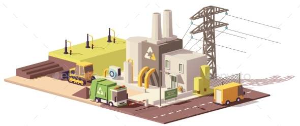 Vector Low Poly Landfill Gas Collection Plant - Buildings Objects