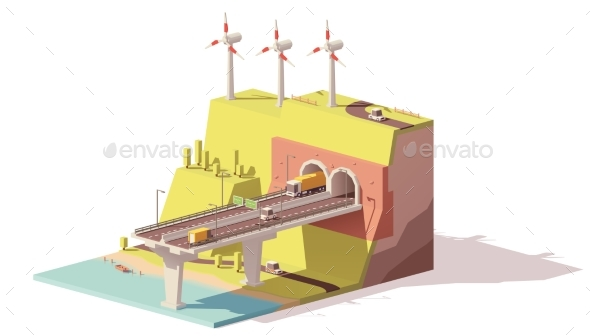 Vector Low Poly Highway and Wind Farm - Man-made Objects Objects