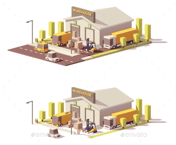 Vector Low Poly Warehouse - Buildings Objects