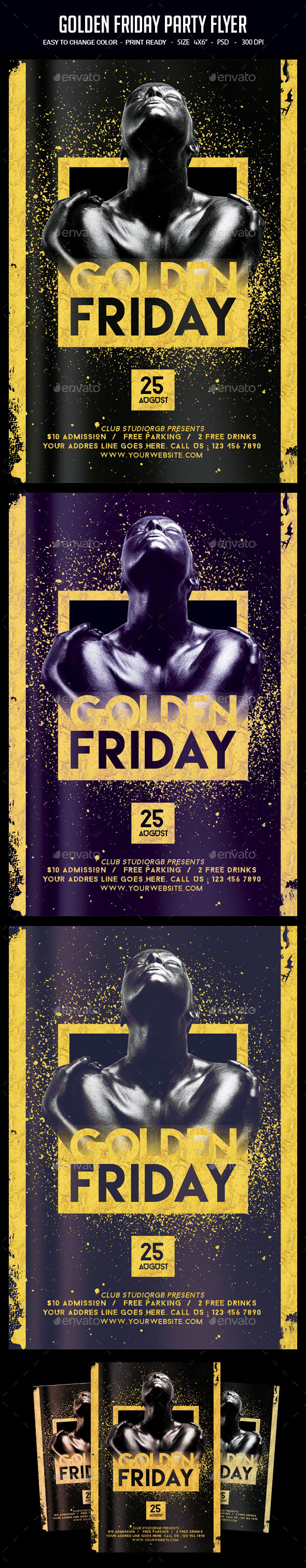 Golden Friday Party Flyer - Clubs & Parties Events